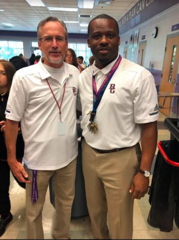 After 29 years of teaching Mr. Briley has decided to retire! Mr. Briley (left) and Mr. Lightning (right).