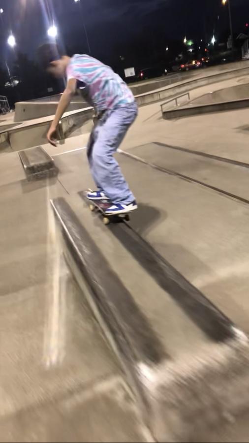 Student skateboarding